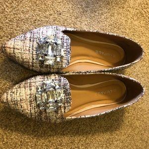 Tweed rhinestone pointy toe flats!